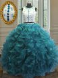 Gorgeous Floor Length Teal Quinceanera Dress Scoop Sleeveless Clasp Handle
