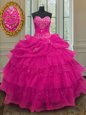Fuchsia Organza and Sequined Lace Up Sweetheart Sleeveless Floor Length 15th Birthday Dress Beading and Ruffled Layers and Sequins and Pick Ups