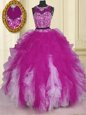 Fuchsia Two Pieces Scoop Sleeveless Tulle Floor Length Zipper Beading and Ruffles Sweet 16 Dress