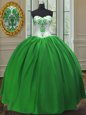 Sweetheart Sleeveless Quince Ball Gowns Floor Length Embroidery Green Taffeta