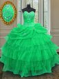 Halter Top Sleeveless Organza Quinceanera Gown Beading and Ruffled Layers and Pick Ups Lace Up