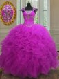 Affordable Fuchsia Organza Lace Up Straps Sleeveless Floor Length 15 Quinceanera Dress Beading and Ruffles and Sequins