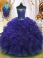 Purple Organza Lace Up Strapless Sleeveless Floor Length Quinceanera Gowns Beading and Ruffles