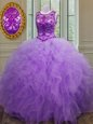 Clearance Scoop Floor Length Lavender Sweet 16 Dress Tulle Sleeveless Beading and Ruffles