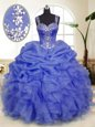 Straps Sleeveless Organza Quinceanera Dresses Beading and Ruffles and Pick Ups Zipper