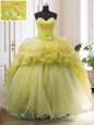 Light Yellow Sweetheart Neckline Beading and Ruffled Layers 15th Birthday Dress Sleeveless Lace Up