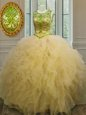 Light Yellow Tulle Lace Up Scoop Sleeveless Floor Length Quinceanera Dresses Beading and Ruffles