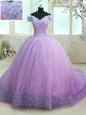 Lilac Off The Shoulder Neckline Hand Made Flower Vestidos de Quinceanera Short Sleeves Lace Up