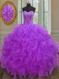 Floor Length Ball Gowns Sleeveless Purple 15 Quinceanera Dress Lace Up