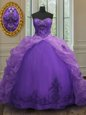 Excellent Beading and Ruffles Quinceanera Gown Purple Zipper Sleeveless Floor Length