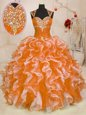 Fancy Multi-color Sweetheart Lace Up Beading and Ruffles Quinceanera Dress Sleeveless