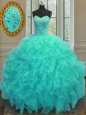 Admirable Aqua Blue Sweetheart Neckline Beading and Ruffled Layers and Pick Ups Ball Gown Prom Dress Sleeveless Lace Up