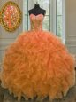 Latest Sweetheart Sleeveless Quince Ball Gowns Floor Length Beading and Ruffles Orange Organza
