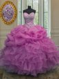 Glamorous Lilac Organza Lace Up Sweetheart Sleeveless Floor Length Sweet 16 Dresses Beading and Ruffles and Pick Ups