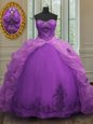 Exquisite Purple Organza Lace Up Sweetheart Sleeveless With Train Ball Gown Prom Dress Court Train Beading and Appliques and Pick Ups