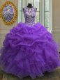 Shining Scoop Purple Sleeveless Beading and Ruffles and Pick Ups Floor Length Sweet 16 Quinceanera Dress