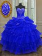 Excellent Royal Blue Lace Up Sweetheart Beading and Ruffled Layers and Pick Ups Quinceanera Dresses Organza Sleeveless