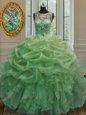 High Class Scoop Pick Ups Sleeveless Organza Lace Up Quinceanera Dresses for Military Ball and Sweet 16 and Quinceanera