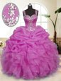 Admirable Lilac Zipper Straps Beading and Ruffles and Pick Ups Sweet 16 Dress Organza Sleeveless