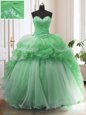 Fitting Ruffled Sweep Train Ball Gowns Quinceanera Gowns Green Sweetheart Organza Sleeveless Lace Up