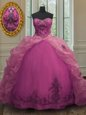 Delicate Fuchsia Organza Lace Up Sweetheart Sleeveless With Train Ball Gown Prom Dress Court Train Beading and Appliques and Pick Ups