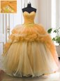 Fantastic Organza Sleeveless With Train Sweet 16 Dresses Sweep Train and Beading and Ruffled Layers