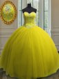 Superior Yellow Ball Gowns Sweetheart Sleeveless Tulle Floor Length Lace Up Beading and Sequins Quinceanera Gowns