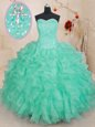Sleeveless Lace Up Floor Length Beading and Ruffles Sweet 16 Quinceanera Dress