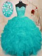 Sweetheart Sleeveless Lace Up Sweet 16 Dress Aqua Blue Organza