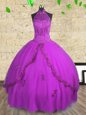 Halter Top Floor Length Lace Up Quinceanera Dress Purple and In for Military Ball and Sweet 16 and Quinceanera with Beading