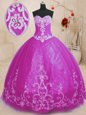 Trendy Fuchsia Tulle Lace Up 15th Birthday Dress Sleeveless Floor Length Beading and Embroidery