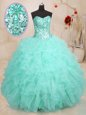 Sequins Multi-color Sleeveless Tulle Lace Up Sweet 16 Quinceanera Dress for Military Ball and Sweet 16 and Quinceanera