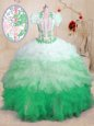 Multi-color Lace Up Sweetheart Beading and Appliques and Ruffles 15 Quinceanera Dress Organza Sleeveless Brush Train