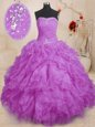 Floor Length Purple Sweet 16 Dresses Strapless Sleeveless Lace Up