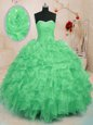 Sleeveless Floor Length Beading and Ruffles Lace Up Quinceanera Dress with Blue