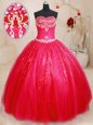 Fashion Beading Quinceanera Gowns Red Lace Up Sleeveless Floor Length