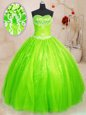 Fabulous Tulle and Sequined Sleeveless Floor Length Sweet 16 Quinceanera Dress and Beading