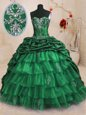 Sweet Pick Ups Ruffled With Train Dark Green Vestidos de Quinceanera Sweetheart Sleeveless Sweep Train Lace Up