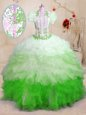 Cute With Train Multi-color Vestidos de Quinceanera Sweetheart Sleeveless Brush Train Lace Up