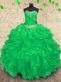 Sleeveless Beading and Appliques and Ruffles and Ruching Lace Up Quinceanera Dress