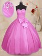 Discount Lilac Ball Gowns Tulle Sweetheart Sleeveless Beading and Bowknot Floor Length Lace Up Quinceanera Dress