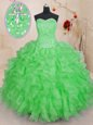 Sweetheart Sleeveless Lace Up Quinceanera Dresses Watermelon Red Organza