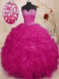 Floor Length Lace Up Quinceanera Dresses Pink and In for Military Ball and Sweet 16 and Quinceanera with Beading and Ruffles
