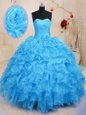 Baby Blue Sleeveless Floor Length Beading and Ruffles and Hand Made Flower Lace Up Ball Gown Prom Dress