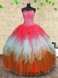 Sleeveless Floor Length Beading and Ruffles and Ruffled Layers Lace Up Ball Gown Prom Dress with Multi-color