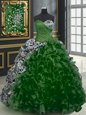 Printed Sleeveless With Train Beading and Ruffles and Pattern Lace Up Sweet 16 Quinceanera Dress with Dark Green Brush Train