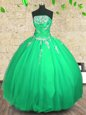 Embroidery and Ruching Quinceanera Gown Green Lace Up Sleeveless Floor Length