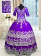 Attractive V-neck Half Sleeves Quinceanera Gown Floor Length Beading and Appliques and Ruffled Layers Purple Tulle