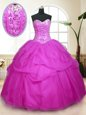 Sequins Pick Ups Ball Gowns Quinceanera Dresses Fuchsia Sweetheart Tulle Sleeveless Floor Length Lace Up