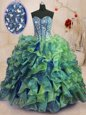 Inexpensive Floor Length Ball Gowns Sleeveless Multi-color Vestidos de Quinceanera Lace Up